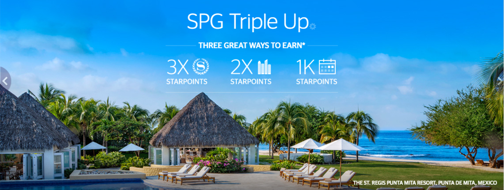 "Earn up to 3x StarPoints with the ""SPG Triple Up"" promotion"