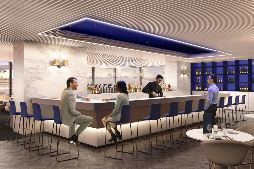 United Polaris lounge bar   (Photo: United Airlines)  (click to enlarge)