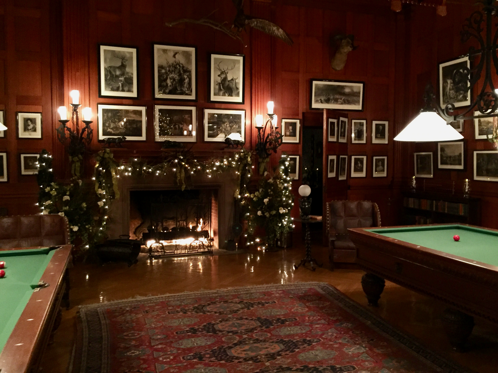 The billiards room decorated for the season