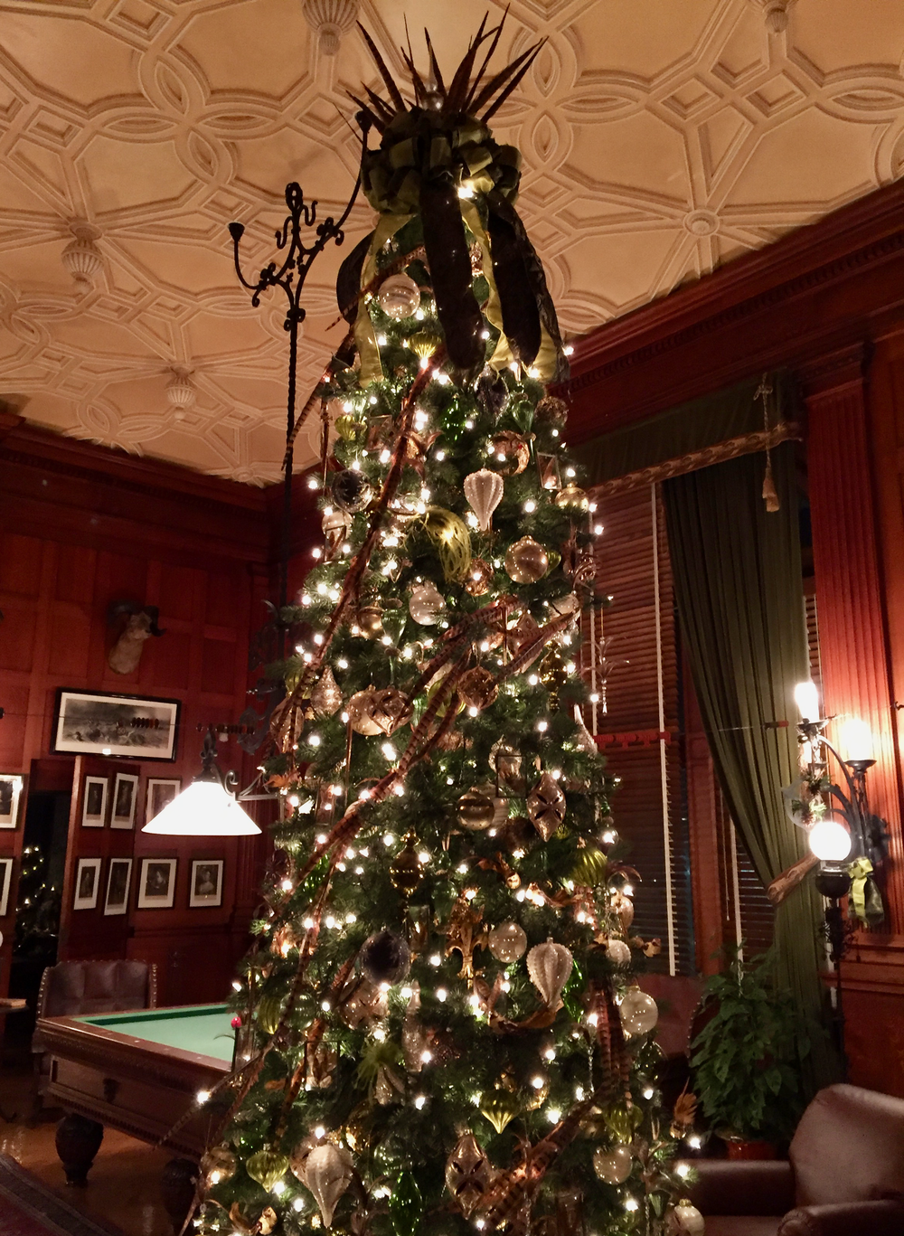 A stunning Christmas tree in the billiards room.