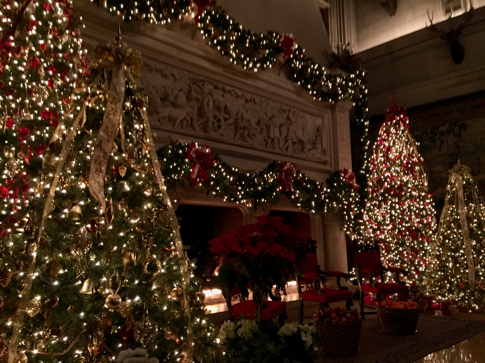 Christmas trees flank a large fireplace.