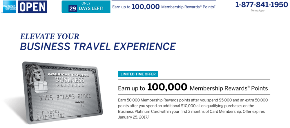 Through January 25, 2017, American Express is offering up to 100,000 bonus Membership Rewards Points on the Enhanced Business Platinum Card.