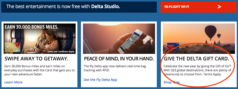 Delta.com links to the screen for gift card purchases from the home page.