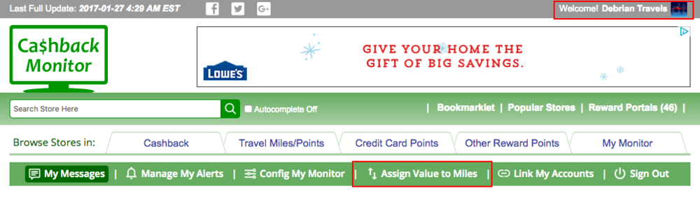 Assigning value to miles in Cashback Monitor: User Settings  (click to enlarge)