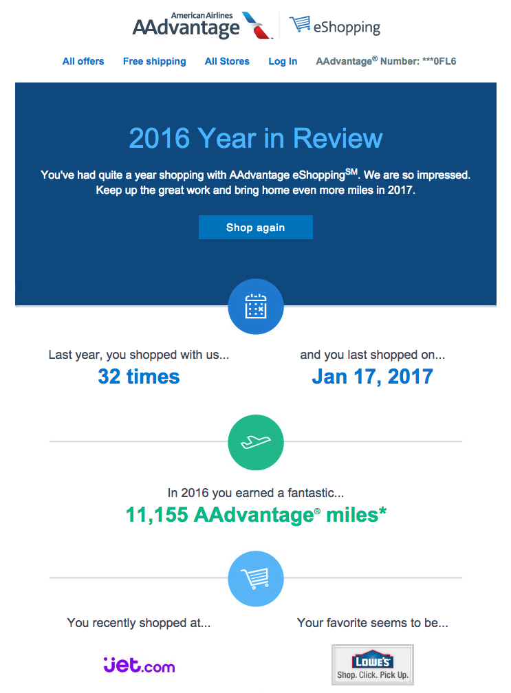 I earned 11,155 AAdvantage miles in 2016 just by shopping via the AA portal!  (click to enlarge)