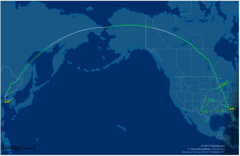 Flight path of inaugural Delta Air Lines flight between Atlanta and Seoul   (FlightAware.com)