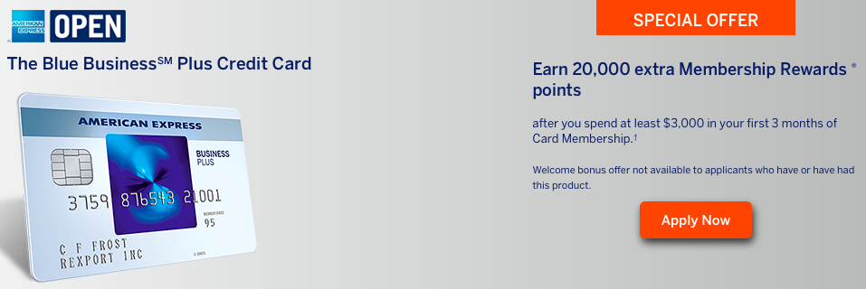 The Blue Business Plus Credit Card offers 20,000 bonus Membership Rewards points