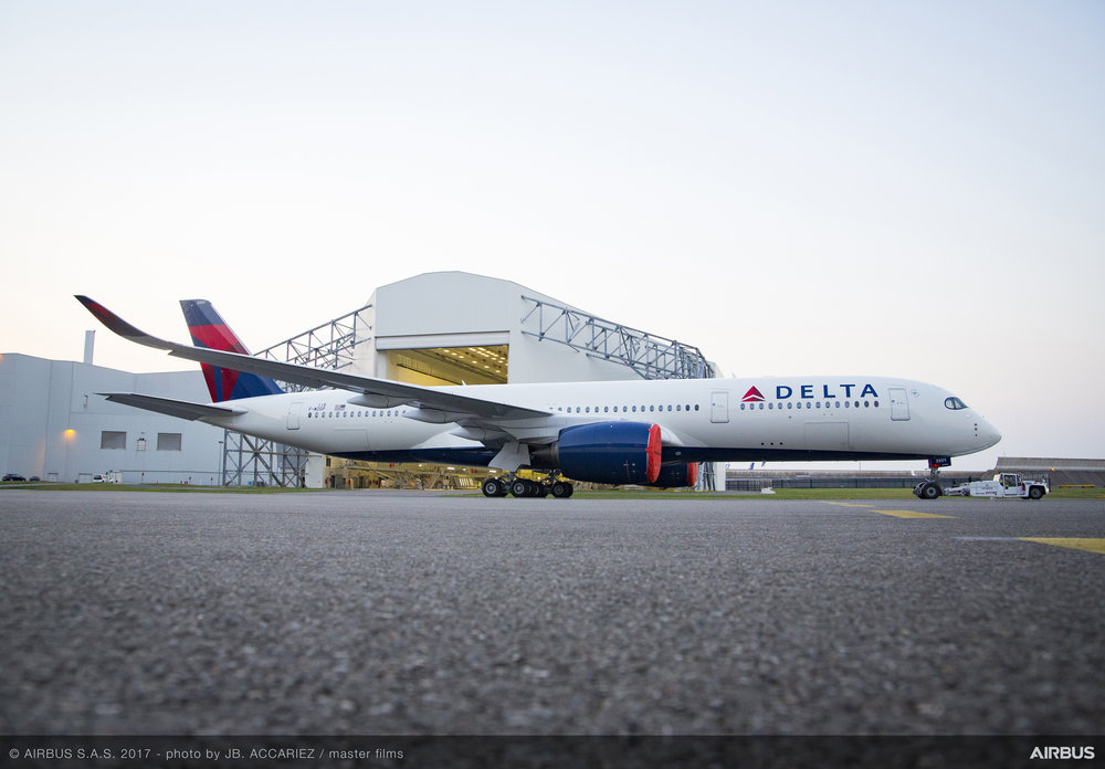 Delta's first A350-900 sporting the airline's livery at the Airbus factory in Toulouse, France   (Photo: Airbus)  (click to enlarge)
