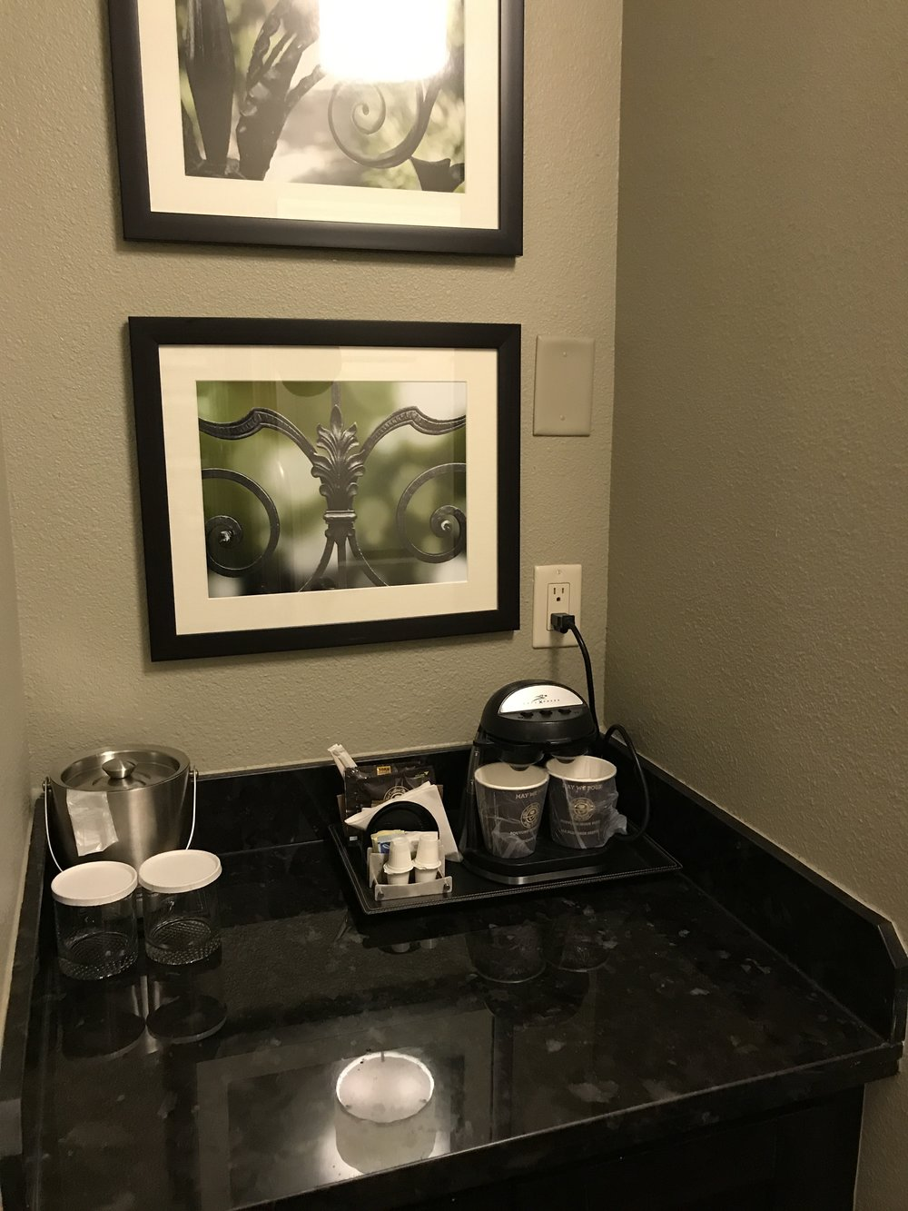 Coffee nook which included room safe and mini-refrigerator