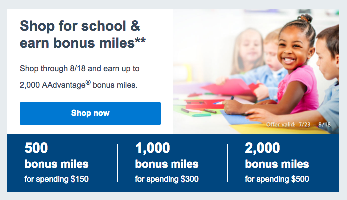 American AAdvantage eShopping Back-to-School bonus miles promotion  (click to enlarge)