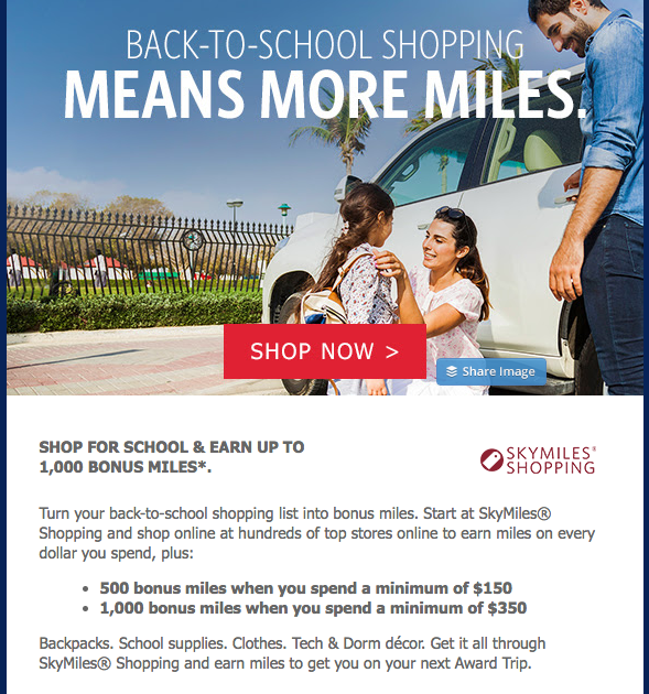 Delta SkyMiles Shopping Back-to-School bonus miles promotion  (click to enlarge)