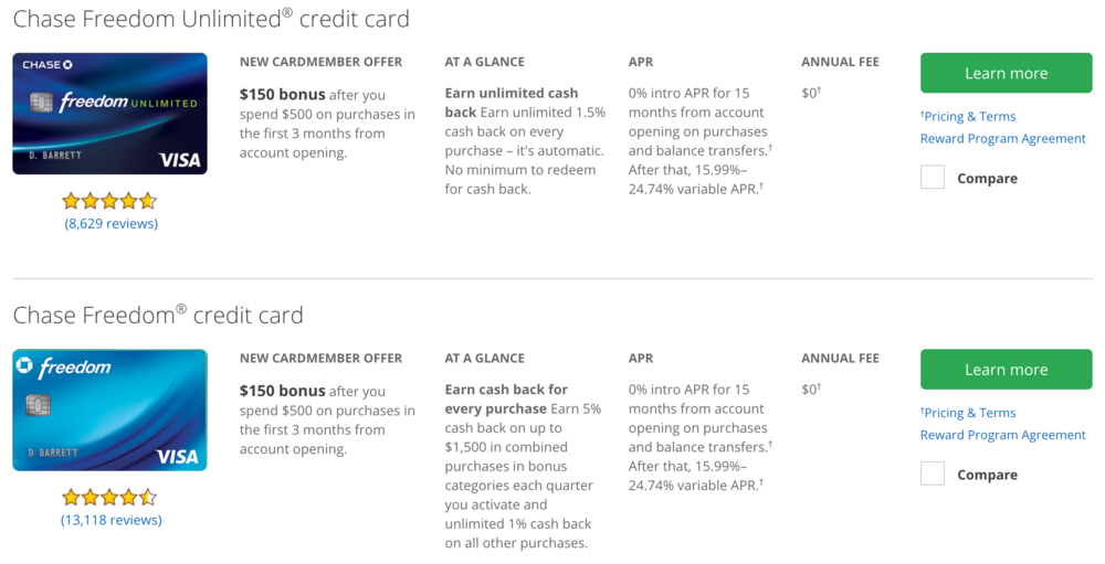 Comparison of the Chase Freedom Unlimited and Chase Freedom cards  (click to enlarge)