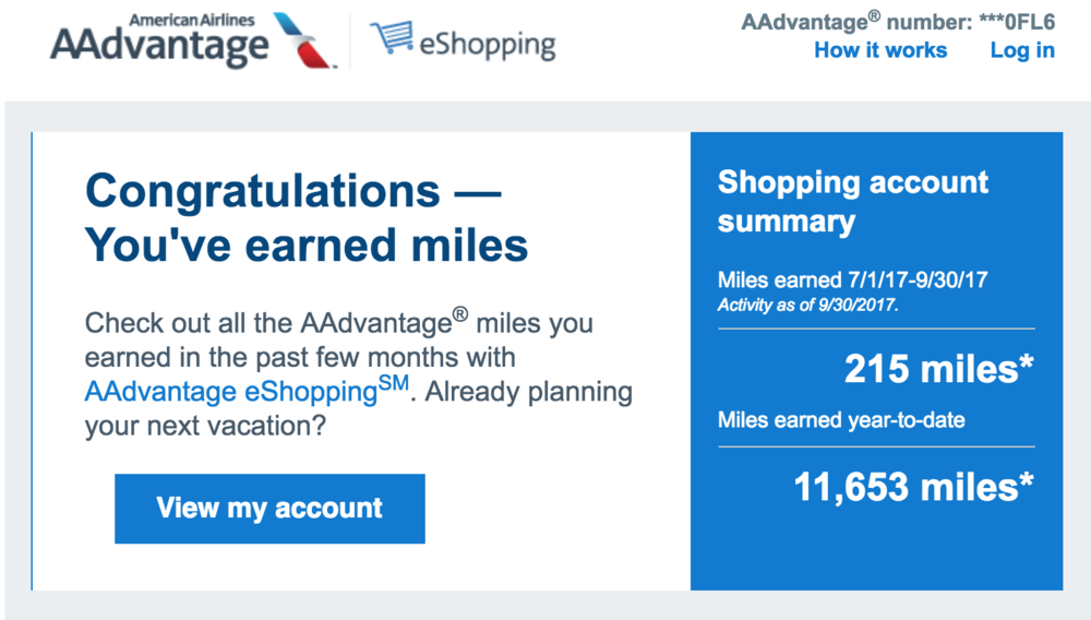 I have already earned over 11,500 AAdvantage this year with the AAdvantage eShopping portal.