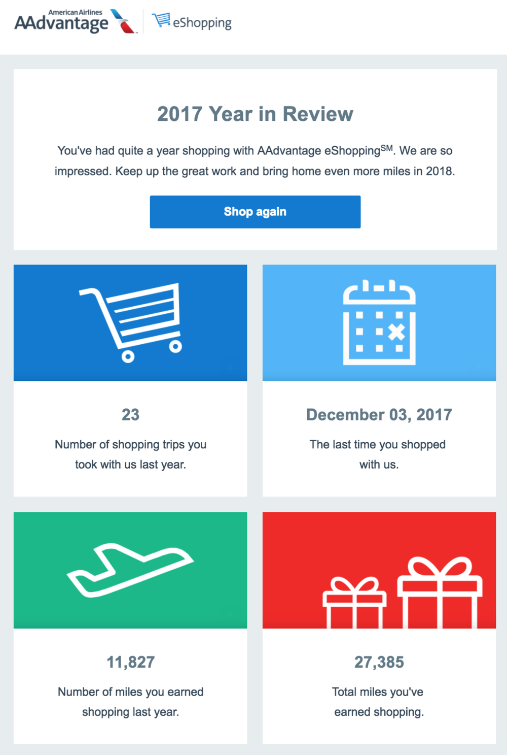 I earned nearly 12,000 AAdvantage miles in 2017 using the AAdvantage eShopping portal.