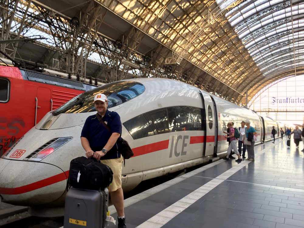 Arriving in Frankfurt on a Deutsche Bahn ICE high-speed train