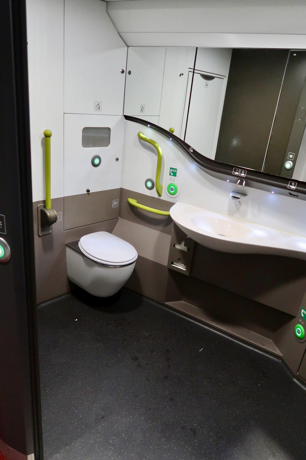 Train restrooms are much larger than those on airplanes  (click to enlarge).