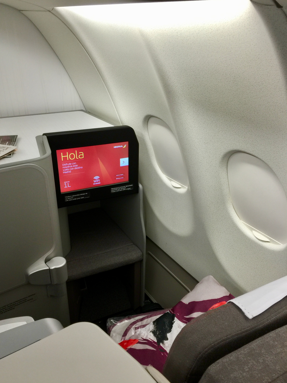 I flew from New York-JFK to Madrid in Iberia business class using AAdvantage miles  (click to enlarge).