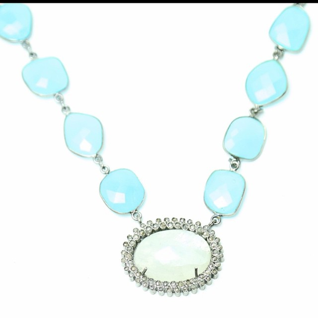 A piece of the sky.  Blue chalcedony necklace and moonstone diamond pendant