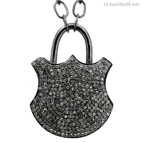 Pave Diamond Lock Pendant