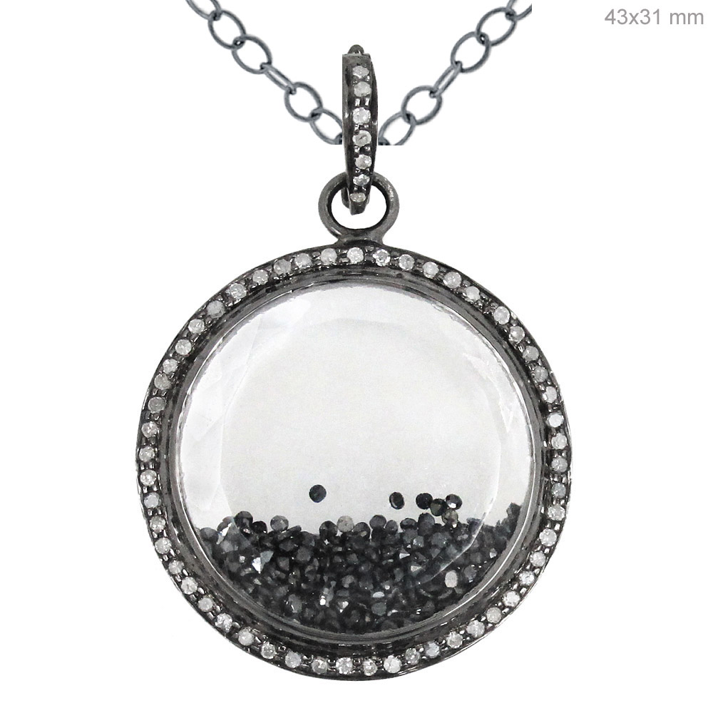 gold circle white diamond double pendant image black jewellery pendants