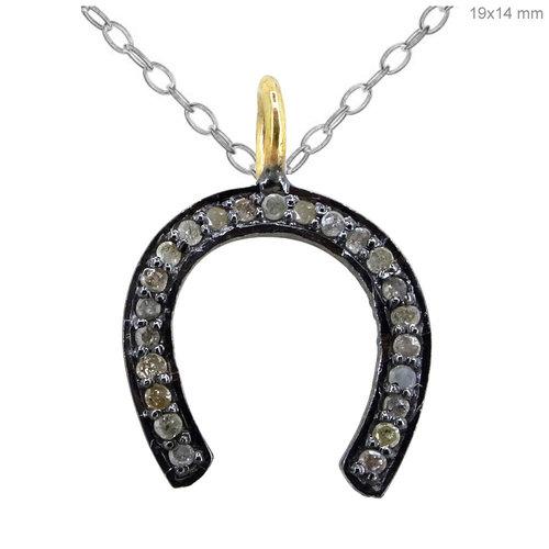 Pave diamond horse shoe charm pendant necklace maison bettina duncan pave diamond horse shoe charm pendant necklace aloadofball Choice Image