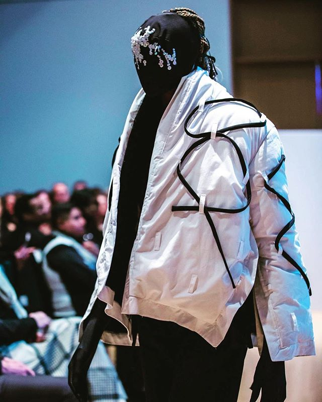 VEHEMENT SS17 AT BLACK HEARTS BALL @bishphotography @timplusthom @fashionweekmn #FOF #FORMOVERFUNCTION #MASK #DESIGN #PUFFER #URBAN #STREETWEAR #MUSICIANS #UNISEX #ONESEX