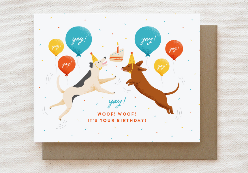 201-C: EXCITED DOGS BIRTHDAY