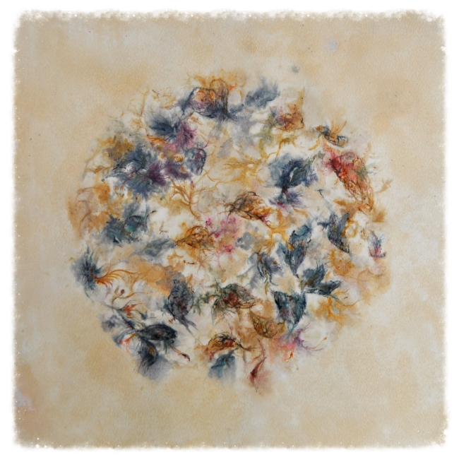 This Flower Moon painting is a keepsake created using the flower's from a bride's bouquet, along with my favourite paints, inks and tea stains!