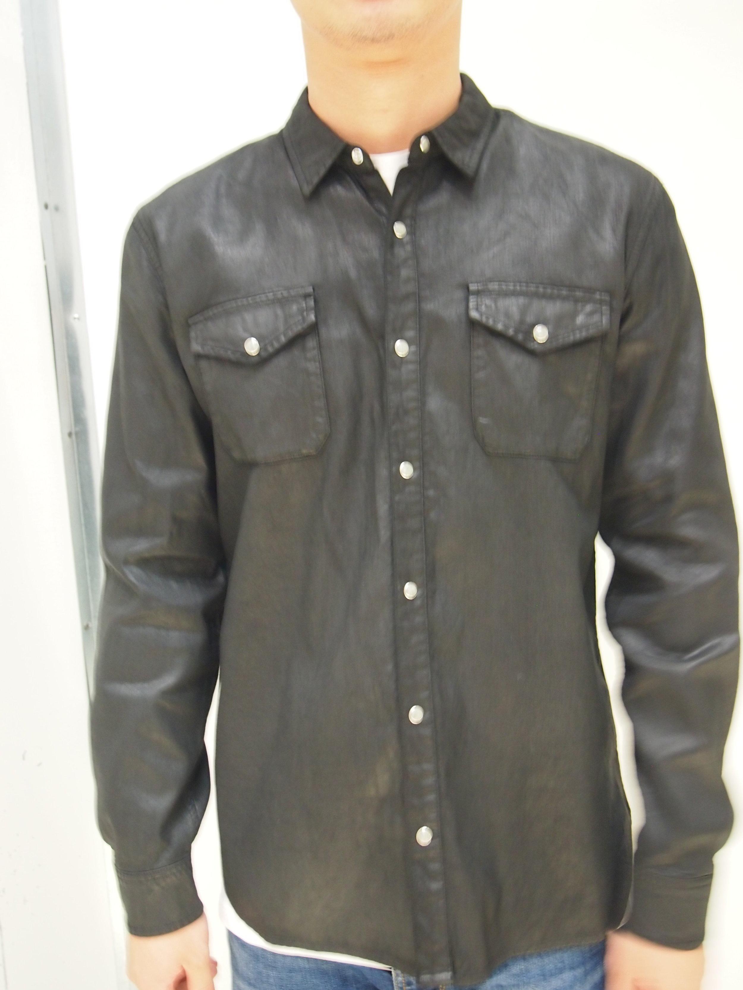 fa9ca952435a1 John Varvatos Coated cotton western shirt — global atomic designs inc