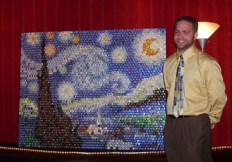 "Kaps for Kids Founder, Nathan Rues, with his first mosaic, Van Gogh's ""Starry Night"""