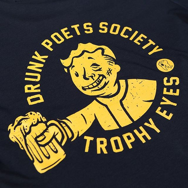 """I'm so poetic when I've been drinkin'"" DR x @trophyeyesmusic tee available exclusively through @24hundrednet now. Numbers are extremely limited so don't sleep on it 🍻#dirtyrotten #underdogs #create #goodtimes #trophyeyes #drunkpoetsociety"