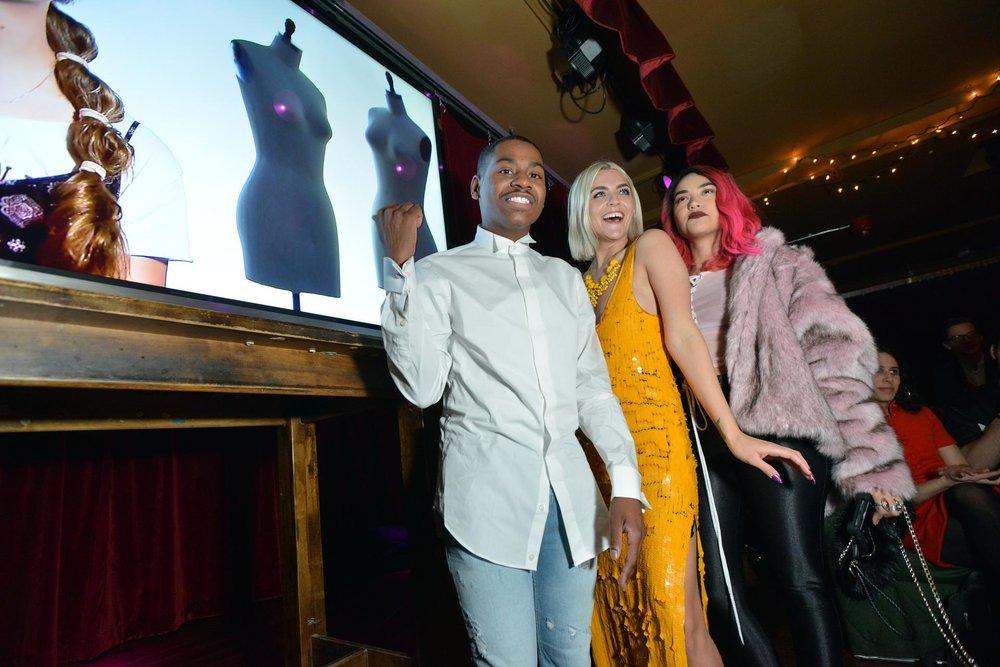 Robertson with fellow contestants Cornelius Ortiz, left, and Nathalia JMag.