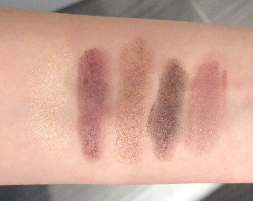Left to Right: Champagne, Aubergine, Bronze, Black Violet, Lilac