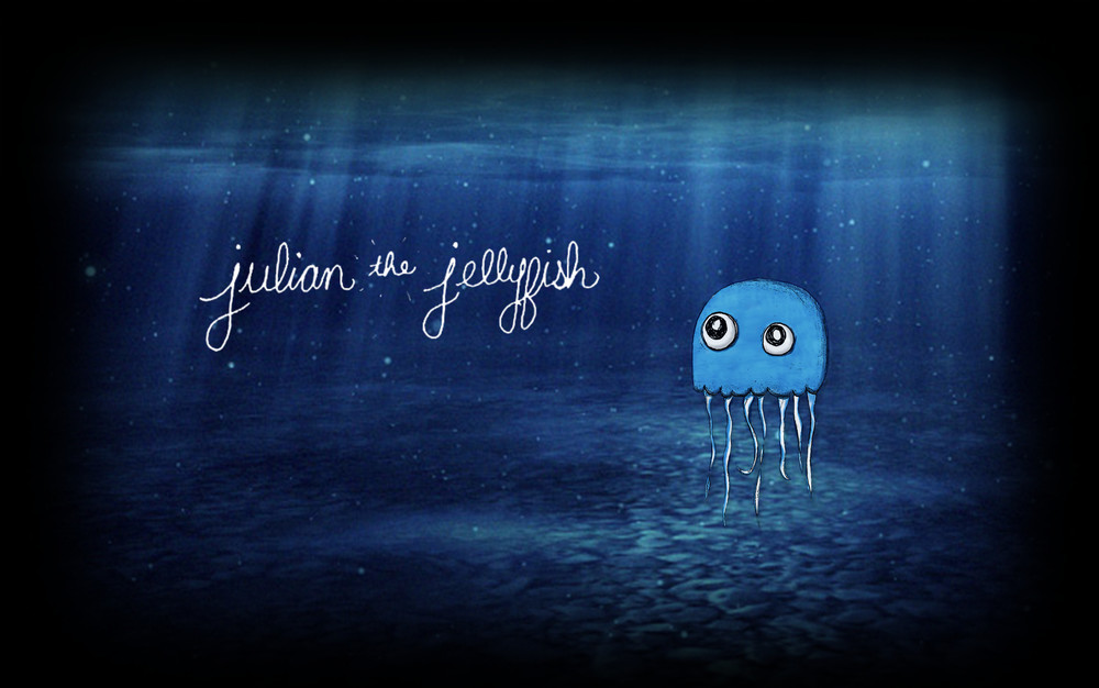 "Style frame for ""Julian the Jellyfish"" an animated tale about a jellyfish who loves so deeply, but everyone he touches he kills. In progress."
