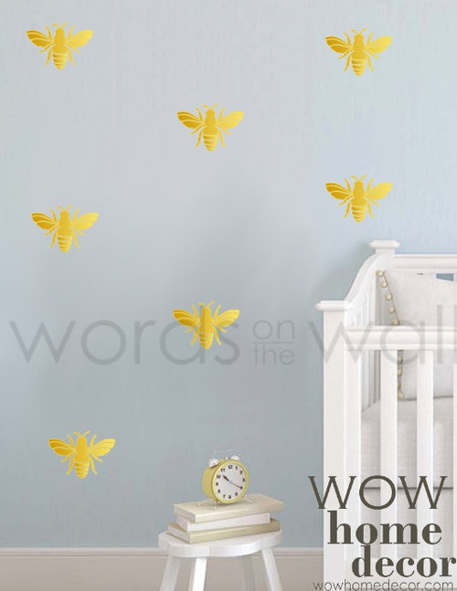 Set Of 42 4 X 25 Honey Bee Vinyl Wall Decal Pattern Sticker Nursery Stencil Bees
