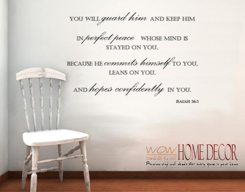 Vinyl Wall Art Decal - Perfect Peace. Bible verse wall decal. Isaiah ...
