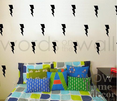 Vinyl wall art decal lightning wall pattern boys room sticker wall stencil thunder and lightning