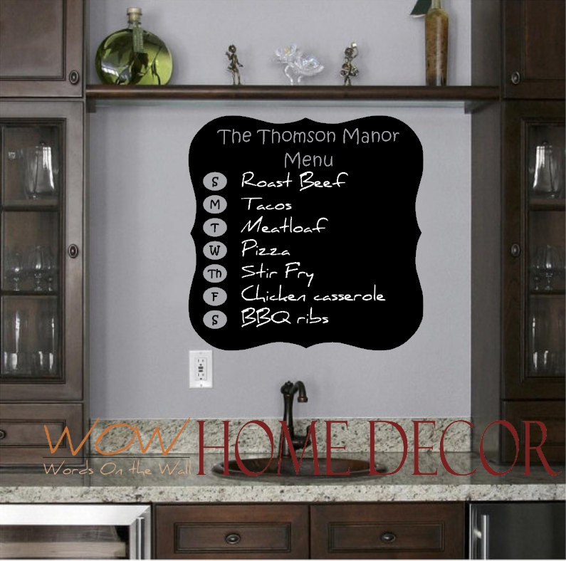 Chalkboard Wall Decal - Weekly Menu Planning fridge decal with Custom Family name u2014 WOW Home Decor & Chalkboard Wall Decal - Weekly Menu Planning fridge decal with ...