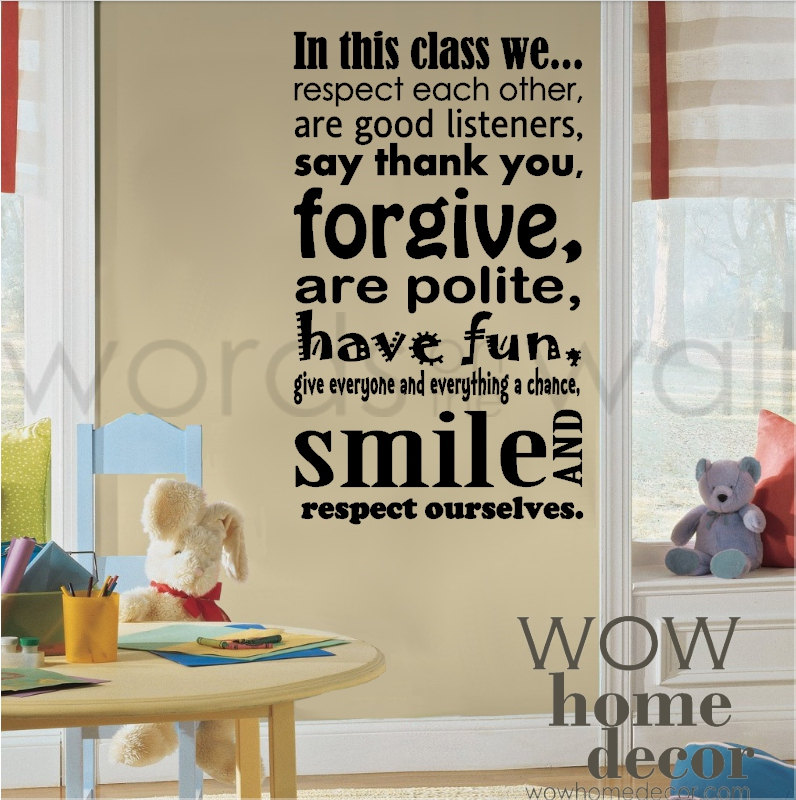 Vinyl Wall Art Decal - Class Room Rules. School classroom quote wall decal. Learning wall decal  sc 1 st  WOW Home Decor & Vinyl Wall Art Decal - Class Room Rules. School classroom quote wall ...
