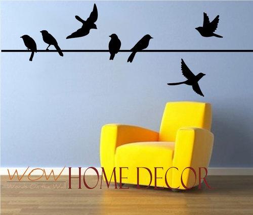Bird on a wire set. Bird Silhouette. Flying birds — WOW Home Decor
