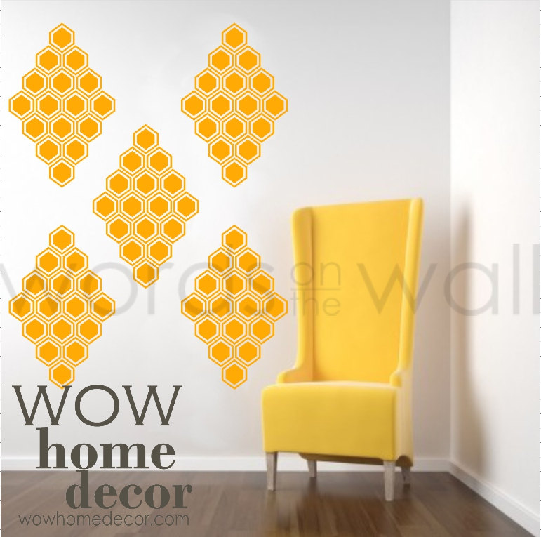 Set Of 10 Large Honeycomb Wall Pattern Decals. Vinyl Wall Art Decal.  Geometric Wall Pattern. Diamond, Bees, Hexagon, Honey Bee Wall Pattern