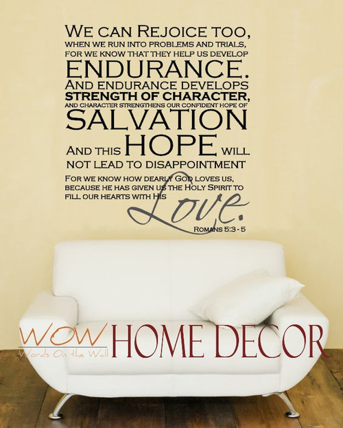 Vinyl wall art decal faith brings joy romans verse decal scripture quote