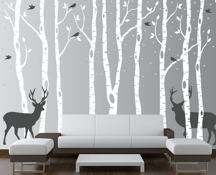 skinny birch trees with flying birds and deer. silhouette birds