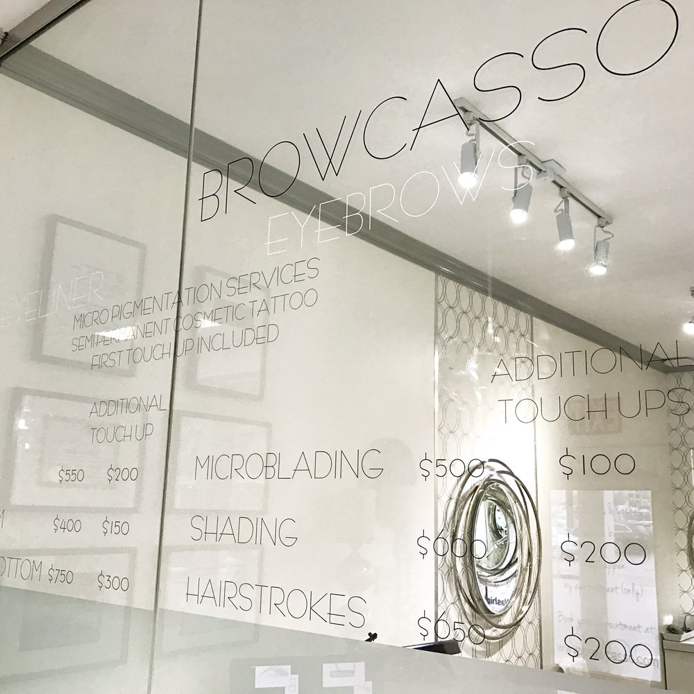 """We are more than happy with our new glass wall signage & installation. We can't thank you enough for your meticulous work, attention to detail, and your bubbly, friendly positive energy! You brought our vision to life once again with this project. And we love it as much as we love the door project you complete for us last year. We will definitely be calling on you for all of our future projects! Thanks x a million "" - Paula M., BROWCASSO Salon"