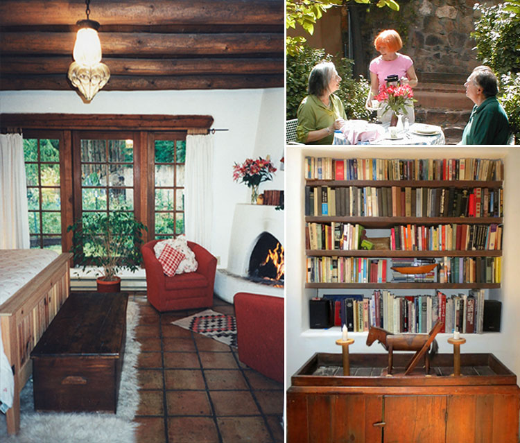 Bedroom with kiva fireplace and view to garden.  Top right: B&B breakfast on patio. Below: Library and folk art