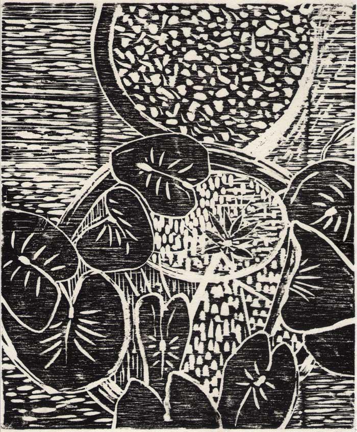 Lily Bowls Hoi An,  2015 Woodcut on rice paper 24cm x 20cm