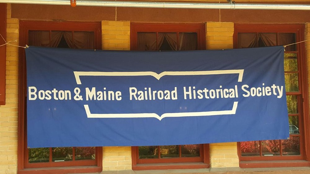B&MRRHS banner marks the location of the October 15, meeting at Plymouth depot, Plymouth, N.H.  Chuck Spence photo.