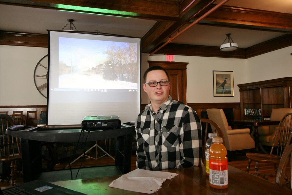 Justin Winiarz was the featured speaker at the April 8, 2017 meeting of the Boston & Maine Railroad Historical Society