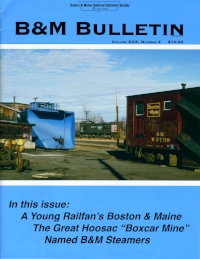 "Volume XXX, No. 4 (2018)   A New Day for B&M Motive Power, Western Route Bottlenecks, Positive Train Control on the MBTA, Green Line Medford Extension, MBTA locomotives, Possible Expanded Conn. River Passenger Service.  Consists from the Car Books of Conductor George W. Cox (State of Maine)  Piecing Together the Boston & Maine  The Great Hoosac Tunnel ""Boxcar Mine"" Wreck  Named Steamers of the Depression Era"