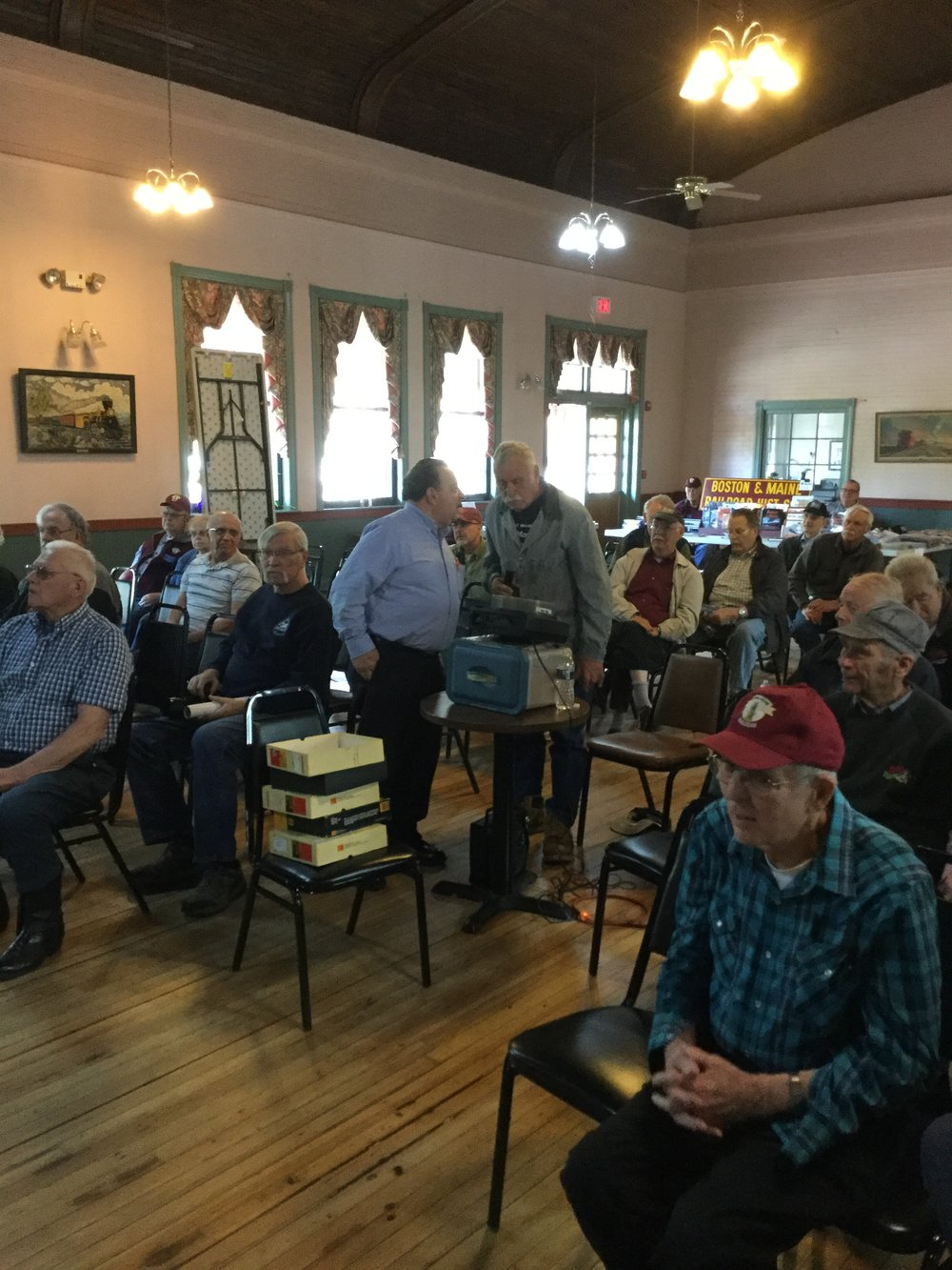 Gary Gurske presents his rail adventures at the Boston & Maine Railroad Historical Society's meeting Plymouth, N.H., May 12, 2018. Staff Photo.